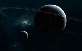 Обои спутники, кольца, планета, звезды, nebula