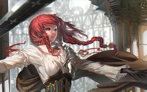 Картинка девушка, оружие, танец, платье, art, karasu-san