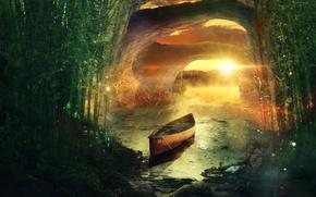Картинка лес, закат, река, берег, лодка