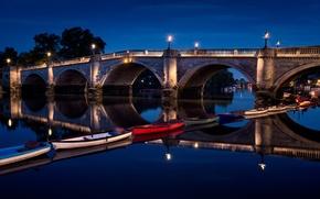 Картинка ночь, огни, Лондон, Великобритания, Richmond Bridge