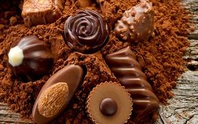 Обои food, candies, десерт, конфеты, dessert, сладкое, chocolate, nuts, орехи, sweet, еда, шоколад, какао, 1920x1200, cocoa