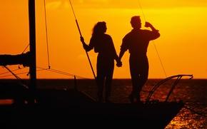 Картинка море, любовь, закат, романтика, яхта, пара