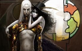 Картинка девушка, металл, робот, окно, арт, витраж, парень, цилиндр, штрих код, anndr, гаечный ключ