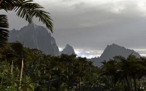 Картинка пальмы, тучи, горы, арт, природа, облака