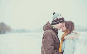Картинка нежность, девушка, зима, снег, парень