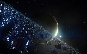 Картинка обломки, космос, звезды, пространство, планета, пояс