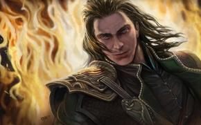 Картинка огонь, бог, арт, мужчина, Loki