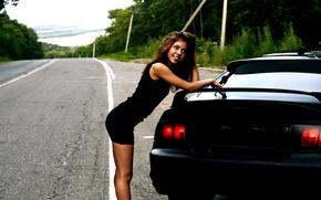 Картинка дорога, машина, взгляд, улыбка, Девушка
