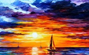 Обои море, краски, корабль