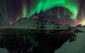 Картинка вода, звезды, снег, деревья, ночь, зеленый, северное сияние, Aurora Borealis