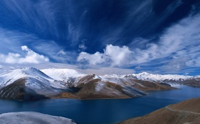 Обои гора, небо, озеро