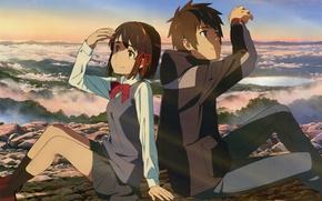 Картинка небо, солнце, озеро, камни, долина, куртка, школьная форма, art, сидят, Makoto Shinkai, Kimi no Na …