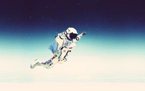 Картинка небо, космос, звезды, полет, прыжок, скафандр, stratos, red bull, felix baumgartner