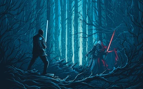 Обои лес, фантастика, вектор, арт, мечи, схватка, Finn, Star Wars: The Force Awakens, Kylo Ren, Звёздные ...