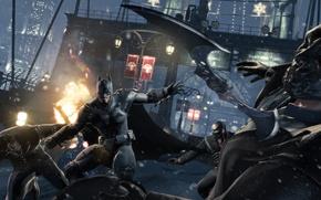 Картинка зима, бетмен, бой, драка, Batman Arkham Origins, бетаранг