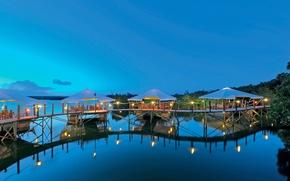 Картинка pool, evening, resort, Mauritius, restaurant, Constance Maurice