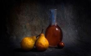 Картинка бутылка, груши, олива