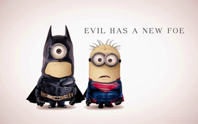Картинка fantasy, Batman, Superman, funny, film, superhero, Minions, Minion, parody, costumes, evil has a new foe
