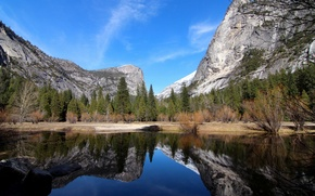 Обои осень, лес, горы, озеро, отражение, камни, скалы