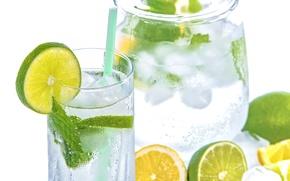 Обои лед, лайм, мята, лимонад