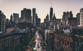 Картинка автомобили, движение, Манхэттен, грузовики, OWTC, Нью-Йорк, 1WTC, One World Trade Center, улица, Соединенные Штаты, быт, ...
