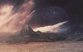 Картинка космос, горы, фантазия, планета, cosmos, воображение, planet