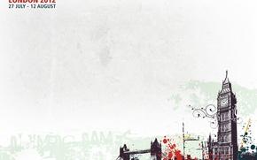 Картинка брызги, города, краски, лондон, автобус, биг бен, олимпийские игры, londonб великобритания
