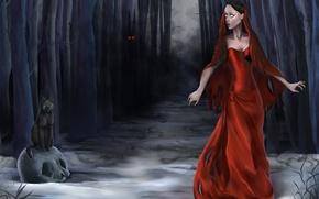 Картинка лес, кошка, глаза, девушка, деревья, ночь, туман, страх, рисунок, череп, платье, фэнтези, арт, Halloween, Хеллоуин, ...