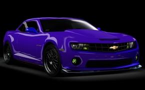 Обои Chevrolet Camaro, Рендеринг, на черном фоне, фиолетовый авто, картинка 3D