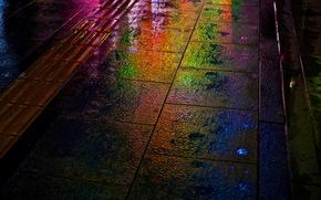 Картинка ночь, дождь, улица, радуга, мокрая, Япония, Херосима