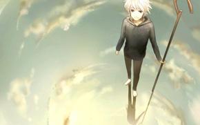 Картинка небо, вода, облака, отражение, аниме, арт, трость, парень, хранители снов, rise of the guardians, escente, …