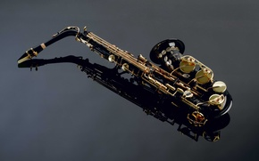 Картинка отражение, Саксофон, детали, красивый, музыкальный инструмент, Saxophone
