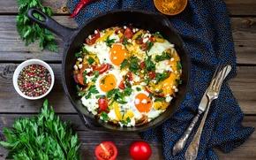 Картинка петрушка, перец, помидоры, сковорода, овощи, вилка, яичница, нож, специи