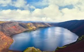 Картинка небо, облака, озеро, вулкан, Исландия, Iceland, Island