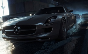 Картинка гонка, фары, Mercedes-Benz, AMG, SLS, дорого, need for speed most wanted 2012