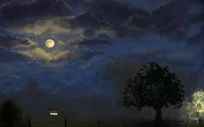 Картинка ночь, дом, дерево