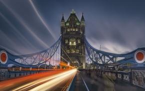 Картинка мост, Лондон, выдержка, мультиэкспозиция