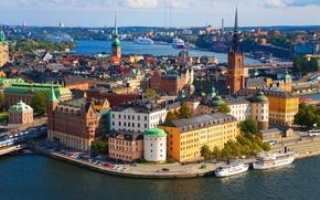 Картинка башни, старый, архитектура, Стокгольм, Швеция, город, фото, здания, горизонт, Sweden, церковь, высокие, движение, панорама, траффик, ...