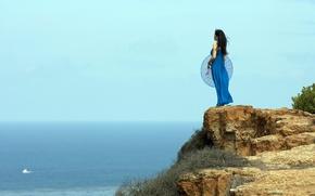 Картинка море, зонт, девушка, пейзаж