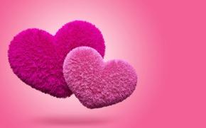 Обои сердечки, love, пушистые, pink, hearts, fluffy