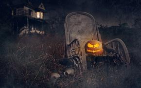 Картинка ночь, дом, праздник, Halloween, тыква, черепа, Хэллоуин, грачи