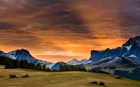 Картинка лес, небо, облака, закат, горы, долина, зарево, домик