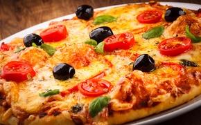 Картинка сыр, помидоры, пицца, еда, маслины, курица, блюдо