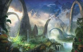 Картинка зелень, вода, пейзаж, горы, растения, арт, вертолет, арки, водопады, фантастический мир