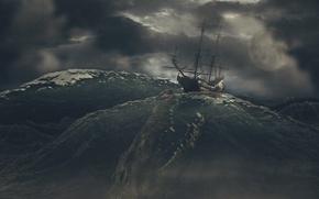 Картинка море, небо, тучи, шторм, рендеринг, морское чудище