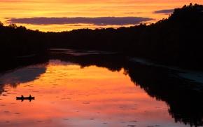 Картинка twilight, river, sky, sunset, clouds, evening, dusk, reflections, fishing, peaceful, golden hour, canoe