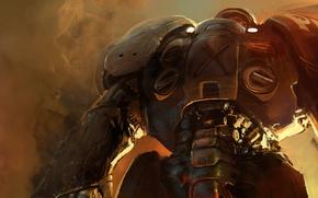 Картинка дым, Terran, Starcraft, marine, силовая броня