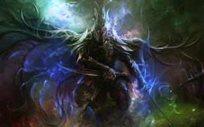 Картинка магия, доспехи, Воин, мечи, горящие глаза