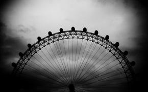 Обои черно-белая, небо, london eye