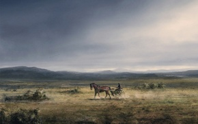 Картинка рисунок, Лошадь, равнина, повозка